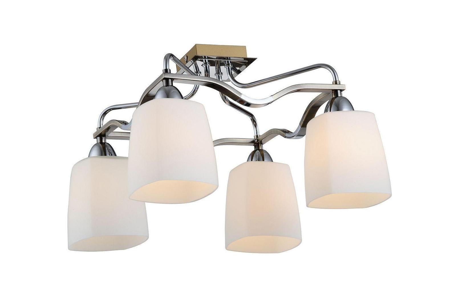 Люстра CitiluxЛюстры<br>Назначение светильника: для гостиной,<br>Стиль светильника: классика,<br>Тип: потолочная,<br>Материал светильника: металл, стекло,<br>Материал плафона: стекло,<br>Материал арматуры: металл,<br>Длина (мм): 400,<br>Ширина: 400,<br>Высота: 260,<br>Количество ламп: 4,<br>Тип лампы: накаливания,<br>Мощность: 60,<br>Патрон: Е14,<br>Цвет арматуры: белый<br>