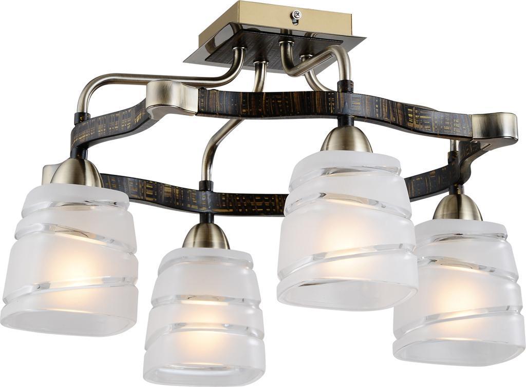 Люстра CitiluxЛюстры<br>Назначение светильника: для гостиной,<br>Стиль светильника: модерн,<br>Тип: потолочная,<br>Материал светильника: металл, стекло,<br>Материал плафона: стекло,<br>Материал арматуры: металл,<br>Длина (мм): 430,<br>Ширина: 430,<br>Высота: 270,<br>Количество ламп: 4,<br>Тип лампы: накаливания,<br>Мощность: 60,<br>Патрон: Е14,<br>Цвет арматуры: бронза<br>