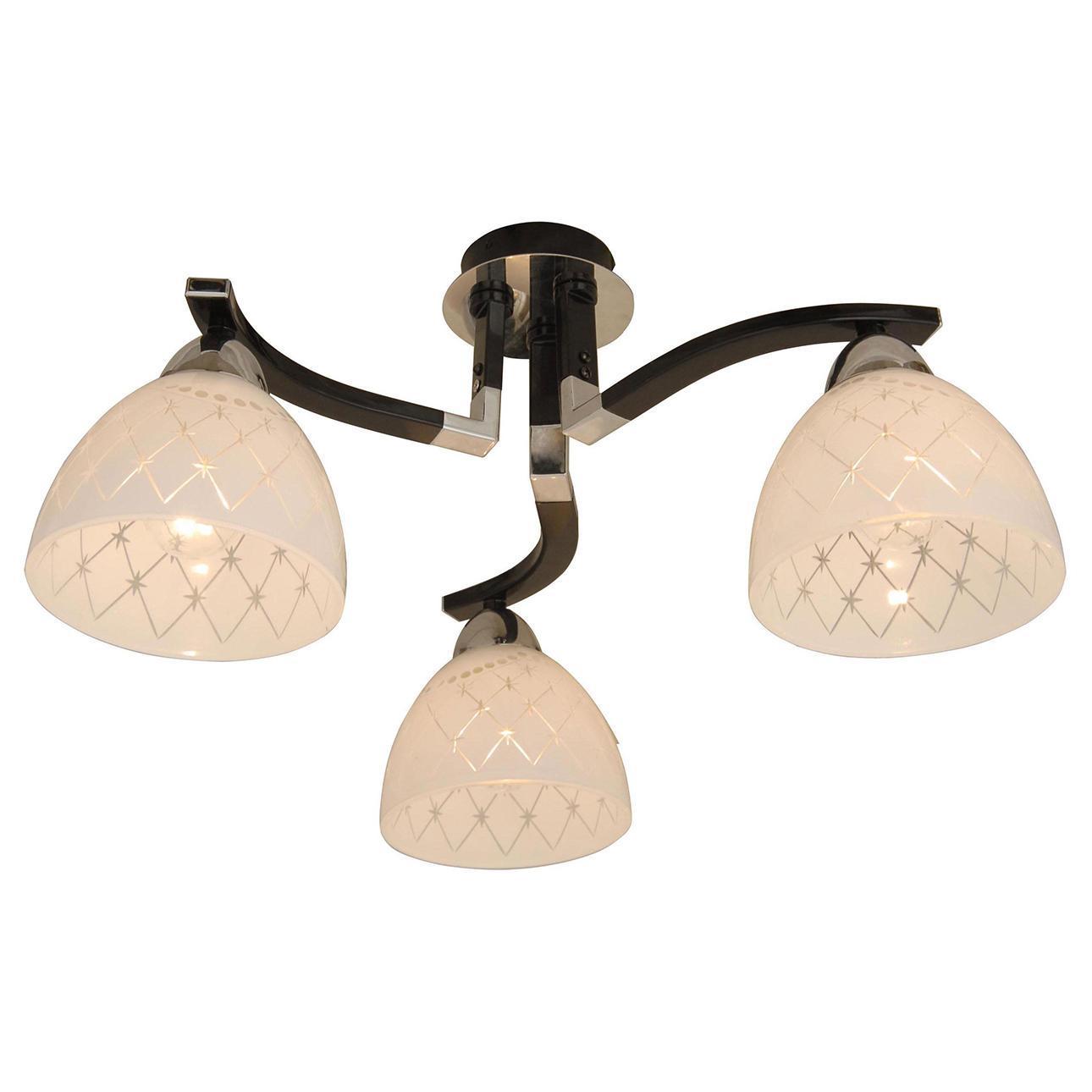 Люстра CitiluxЛюстры<br>Назначение светильника: для комнаты, Стиль светильника: модерн, Тип: потолочная, Материал светильника: металл, стекло, Материал плафона: стекло, Материал арматуры: металл, Длина (мм): 440, Ширина: 440, Диаметр: 440, Высота: 230, Количество ламп: 3, Тип лампы: накаливания, Мощность: 75, Патрон: Е27, Цвет арматуры: черный, Родина бренда: Дания<br>