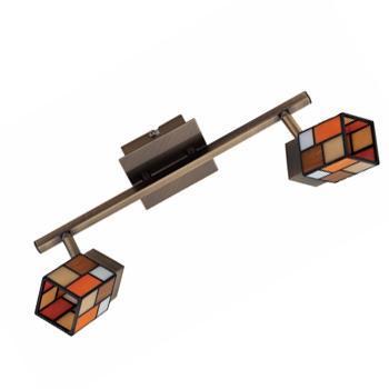 Спот CitiluxСпоты<br>Тип: спот,<br>Стиль светильника: тиффани,<br>Материал светильника: металл, стекло,<br>Количество ламп: 2,<br>Тип лампы: галогенная,<br>Мощность: 40,<br>Патрон: G9,<br>Цвет арматуры: бронза,<br>Диаметр: 360,<br>Ширина: 360,<br>Длина (мм): 150<br>