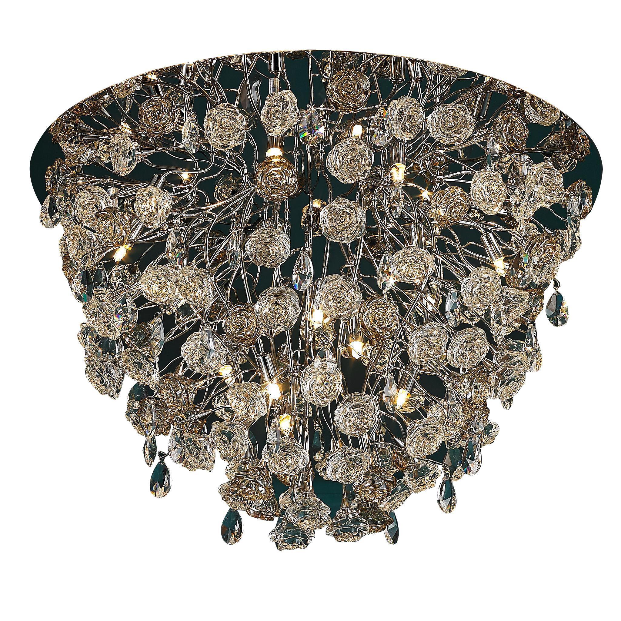 Люстра LamplandiaЛюстры<br>Назначение светильника: для комнаты, Стиль светильника: классика, Тип: потолочная, Материал светильника: металл, стекло, пластик, Материал арматуры: металл, Длина (мм): 750, Ширина: 750, Высота: 540, Количество ламп: 18, Тип лампы: накаливания, Мощность: 40, Патрон: G9, Цвет арматуры: серебристый, Родина бренда: Испания, Коллекция: rosa<br>