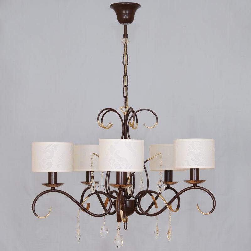 Люстра СЕВЕРНЫЙ СВЕТЛюстры<br>Назначение светильника: для гостиной,<br>Стиль светильника: модерн,<br>Тип: подвесная,<br>Материал светильника: металл, ткань,<br>Материал плафона: ткань,<br>Материал арматуры: металл,<br>Диаметр: 650,<br>Высота: 800,<br>Количество ламп: 5,<br>Тип лампы: накаливания,<br>Мощность: 60,<br>Патрон: Е14,<br>Цвет арматуры: медь<br>