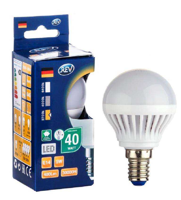 Лампа светодиодная Rev ritterЛампы<br>Тип лампы: светодиодная,<br>Форма лампы: груша,<br>Цвет колбы: белая,<br>Тип цоколя: Е14,<br>Напряжение: 220,<br>Мощность: 5,<br>Цветовая температура: 2700,<br>Цвет свечения: теплый<br>