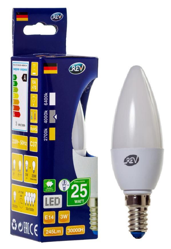 Лампа светодиодная Rev ritterЛампы<br>Тип лампы: светодиодная,<br>Форма лампы: свеча,<br>Цвет колбы: белая,<br>Тип цоколя: Е14,<br>Напряжение: 220,<br>Мощность: 3,<br>Цветовая температура: 4000,<br>Цвет свечения: нейтральный<br>