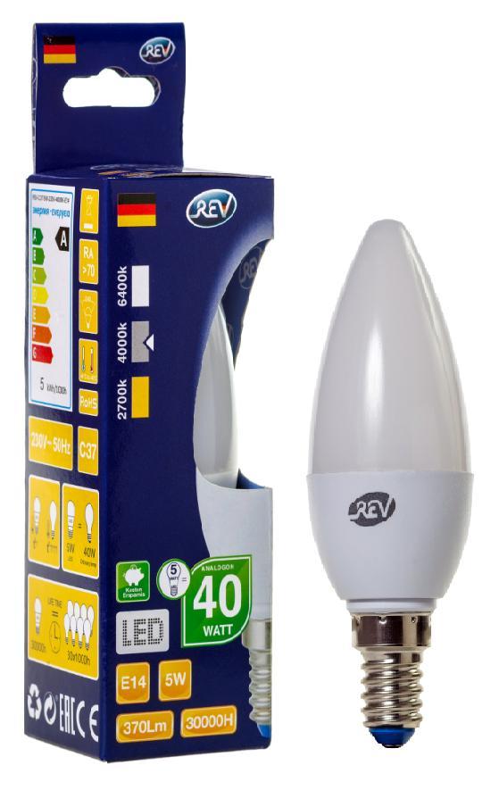 Лампа светодиодная Rev ritterЛампы<br>Тип лампы: светодиодная,<br>Форма лампы: свеча,<br>Цвет колбы: белая,<br>Тип цоколя: Е14,<br>Напряжение: 220,<br>Мощность: 5,<br>Цветовая температура: 4000,<br>Цвет свечения: холодный<br>