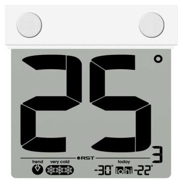 Термометр RstТермометры<br>Размеры: 99х96х22,<br>Источники питания: AAA,<br>Мин. температура: -30,<br>Макс. температура: 70<br>