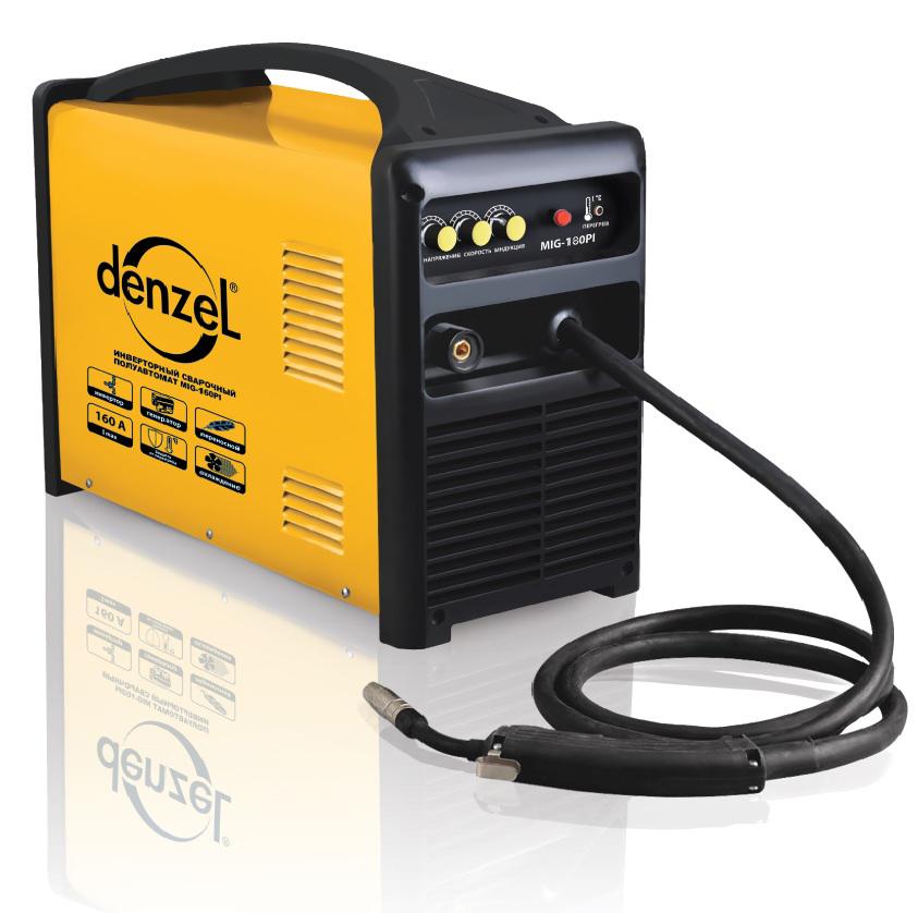 Сварочный аппарат DenzelСварочные аппараты<br>Макс. сварочный ток: 180,<br>Напряжение: 220,<br>Мин. входное напряжение: 198,<br>Выходной ток: 50-180,<br>Потребляемый ток: 23.8,<br>Мин. диаметр проволоки: 0.6,<br>Макс. диаметр проволоки: 0.8,<br>Тип сварочного аппарата: инверторный,<br>Тип сварки: полуавтоматическая (MIG/MAG),<br>Инверторная технология: есть,<br>Размеры: 540х255х415,<br>Степень защиты от пыли и влаги: IP 21,<br>Класс: полупроф.,<br>Режим работы ПН %: 60<br>