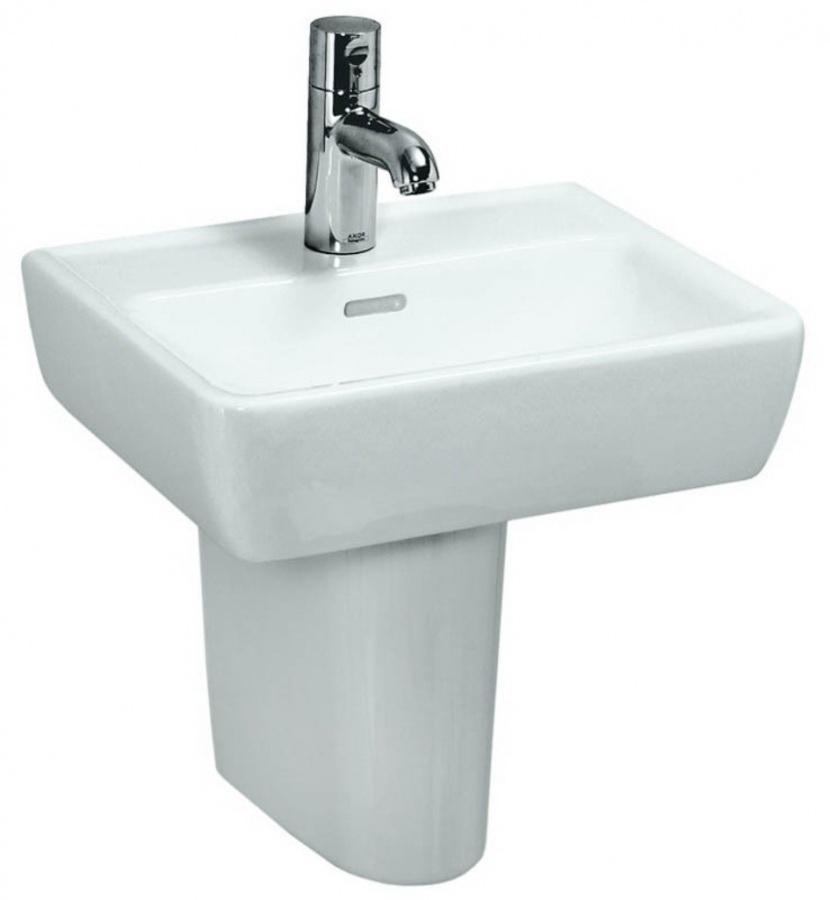 Раковина LaufenРаковины (умывальники)<br>Тип: раковина, Назначение умывальника(раковины): для ванной, Ширина: 450, Глубина: 340, Форма раковины: прямоугольная, Цвет: белый, Отверстие под смеситель: нет, Материал: керамика, Тип установки раковины: подвесной, Коллекция: pro<br>