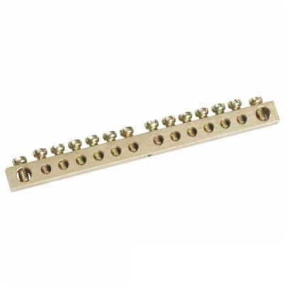Шина ТДМЩиты электрические, боксы<br>Тип: шина,<br>Материал: латунь,<br>Использование: в помещении,<br>DIN рейка: одна,<br>Количество модулей: 14<br>