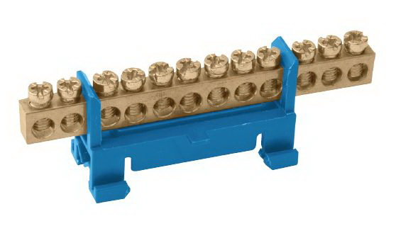 Шина ТДМЩиты электрические, боксы<br>Тип: шина,<br>Материал: латунь,<br>Использование: в помещении,<br>DIN рейка: одна,<br>Количество модулей: 10<br>