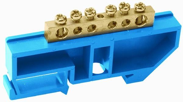Шина ТДМЩиты электрические, боксы<br>Тип: шина, Материал: латунь, Использование: в помещении, DIN рейка: одна, Количество модулей: 6<br>