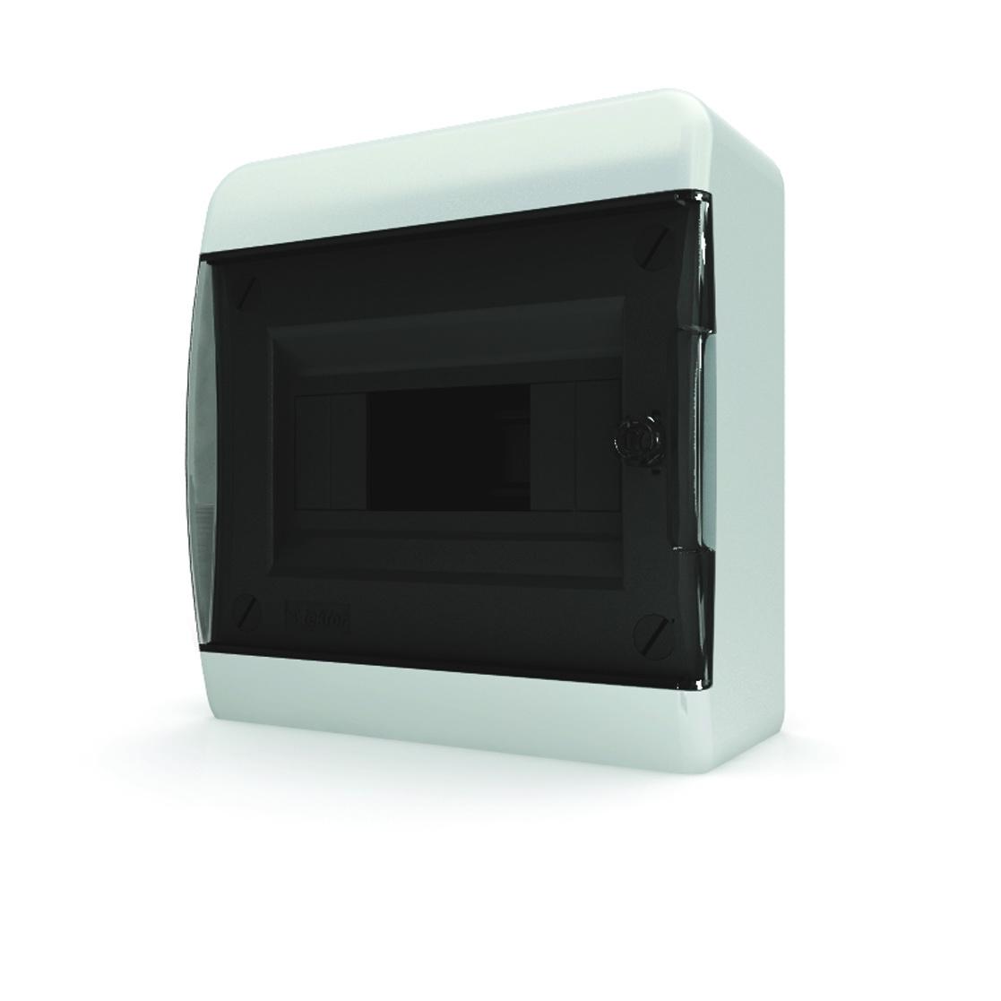 Бокс TekforЩиты электрические, боксы<br>Тип: бокс,<br>Тип установки: навесной,<br>Материал: пластик,<br>Степень защиты от пыли и влаги: IP 40,<br>Использование: в помещении,<br>Высота: 170,<br>Ширина: 218,<br>Глубина: 102.9,<br>Окно: есть,<br>Клеммник: есть,<br>DIN рейка: одна,<br>Количество модулей: 8<br>