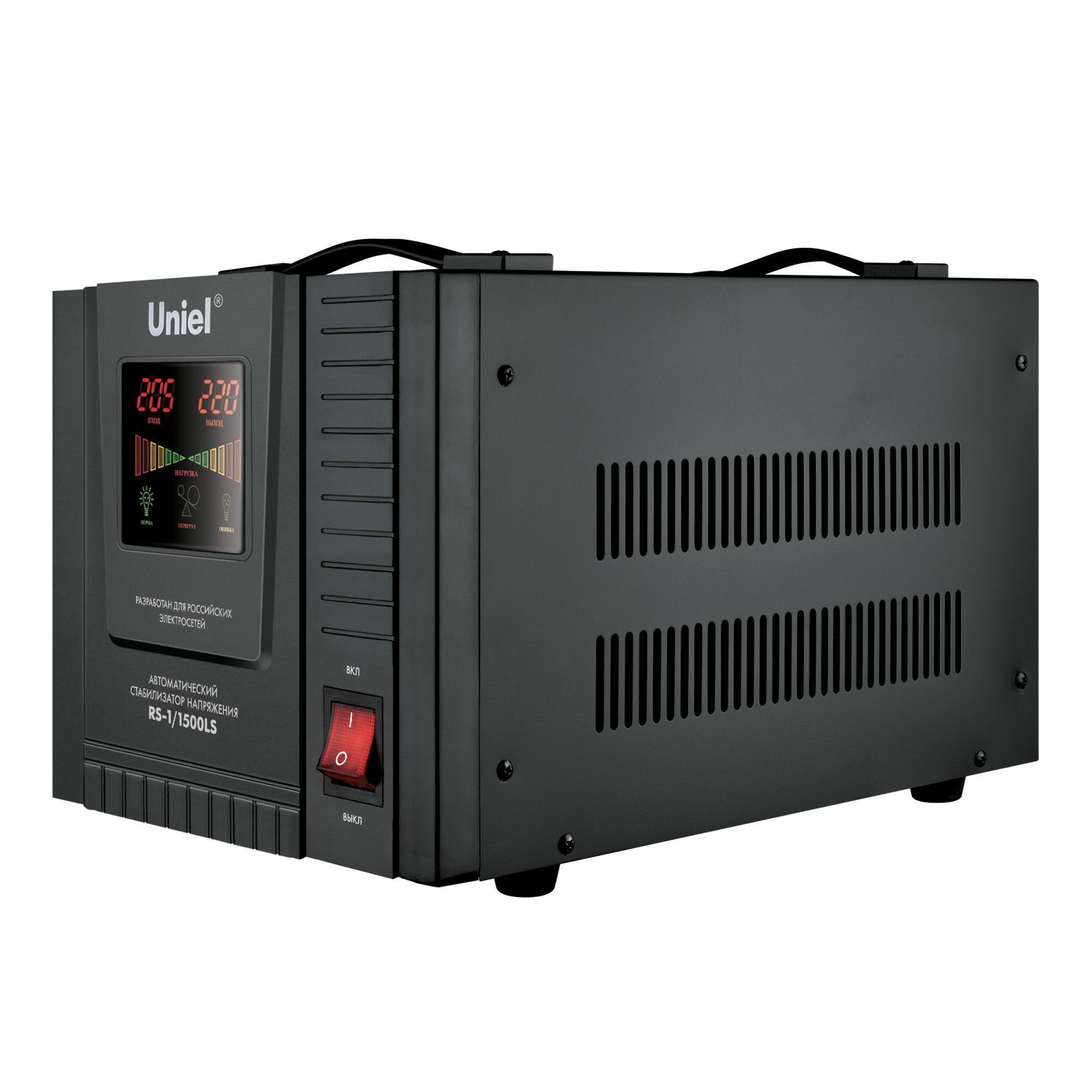 Стабилизатор напряжения UnielСтабилизаторы и ИБП<br>Мощность: 1500,<br>Тип: однофазный стабилизатор,<br>Тип стабилизатора: электронный (релейный),<br>Тип установки: настенный,<br>Мин. входное напряжение: 70,<br>Макс. входное напряжение: 275,<br>Выходное напряжение: 220,<br>Дисплей: нет<br>