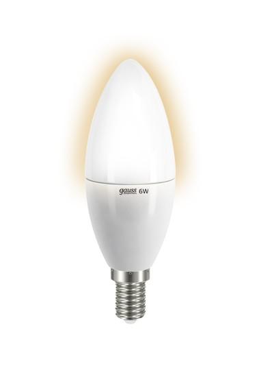 Лампа светодиодная GaussЛампы<br>Тип лампы: светодиодная, Форма лампы: свеча, Цвет колбы: белая, Тип цоколя: Е14, Напряжение: 220, Мощность: 6, Цветовая температура: 2700, Цвет свечения: теплый<br>