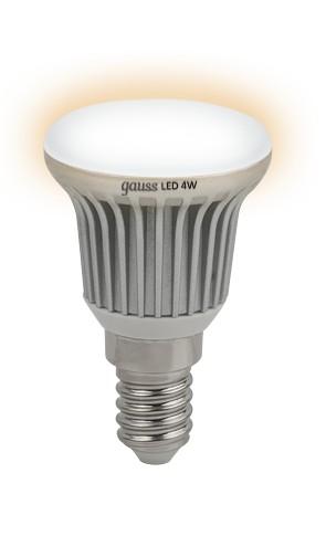 Лампа светодиодная GaussЛампы<br>Тип лампы: светодиодная, Форма лампы: груша, Цвет колбы: белая, Тип цоколя: Е14, Напряжение: 220, Мощность: 4, Цветовая температура: 2700, Цвет свечения: теплый<br>