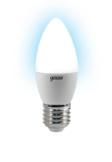 Лампа светодиодная GaussЛампы<br>Тип лампы: светодиодная,<br>Форма лампы: свеча,<br>Цвет колбы: белая,<br>Тип цоколя: Е27,<br>Напряжение: 220,<br>Мощность: 4,<br>Цветовая температура: 4100,<br>Цвет свечения: холодный<br>