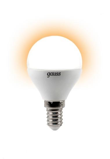 Лампа светодиодная GaussЛампы<br>Тип лампы: светодиодная,<br>Форма лампы: шар,<br>Цвет колбы: белая,<br>Тип цоколя: Е14,<br>Напряжение: 220,<br>Мощность: 4,<br>Цветовая температура: 2700,<br>Цвет свечения: теплый<br>