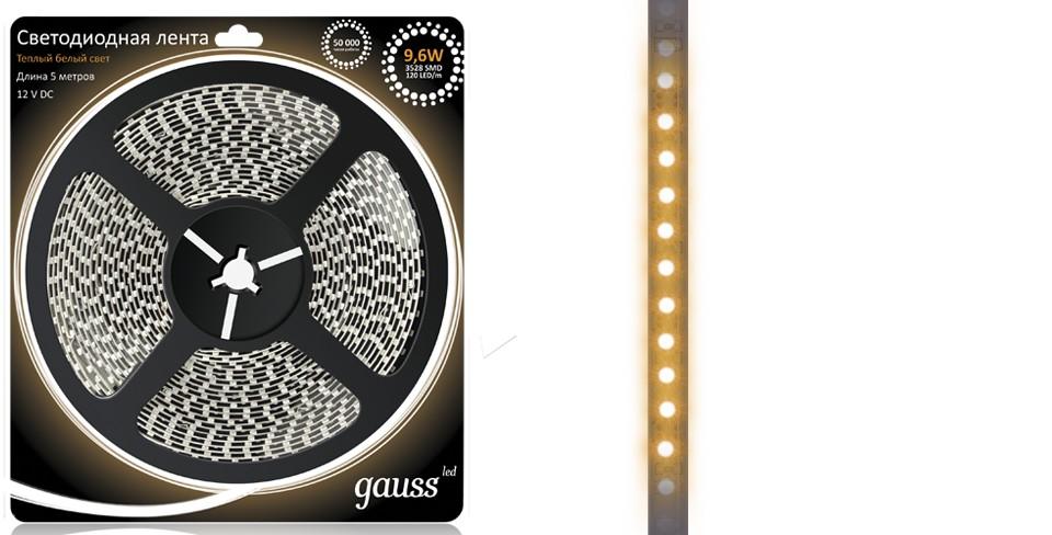 Световая лента GaussСветодиодные ленты, дюралайт<br>Цвет: тёплый белый,<br>Длина ленты: 5000,<br>Мощность: 9.6,<br>Степень защиты от пыли и влаги: IP 20,<br>Тип: лента,<br>Тип лампы: светодиодная,<br>Количество ламп: 600,<br>Вес нетто: 0.2<br>
