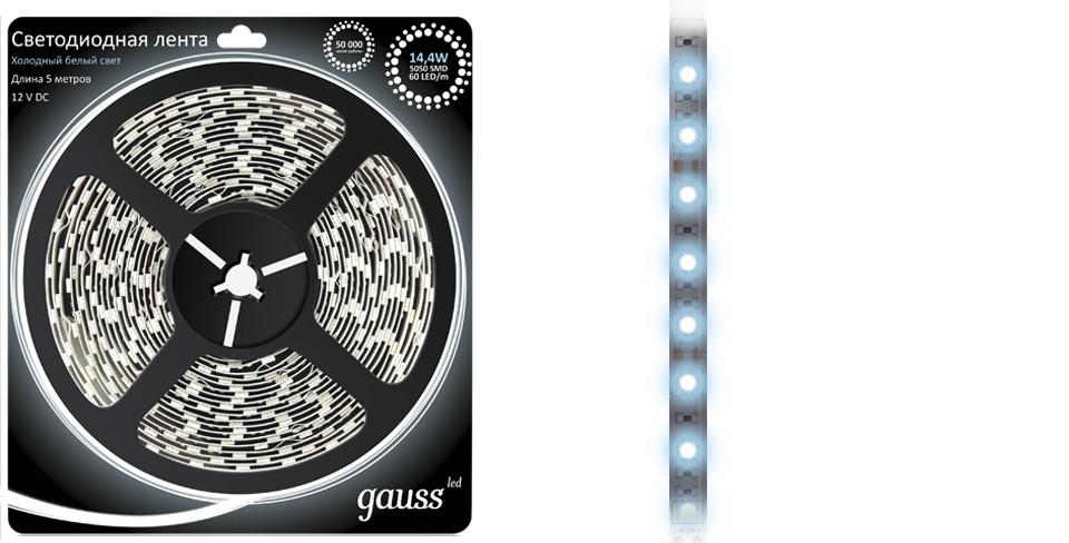 Световая лента GaussСветодиодные ленты, дюралайт<br>Длина ленты: 5000,<br>Мощность: 14.4,<br>Степень защиты от пыли и влаги: IP 20,<br>Тип: лента,<br>Тип лампы: светодиодная,<br>Количество ламп: 300<br>