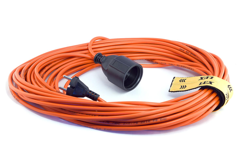 Удлинитель LuxУдлинители и сетевые фильтры<br>Количество гнезд: 1, Заземление: есть, Тип удлинителя: удлинитель, Марка кабеля: ПВС, Число / сечение жил: 3х0.75, Длина (м): 30, Выключатель: нет, Цвет: оранжевый, Шторки: нет, Наличие катушки: нет, USB порт: нет, Сила тока: 10, Автоматическое сматывание кабеля: нет, Степень защиты от пыли и влаги: IP 20<br>