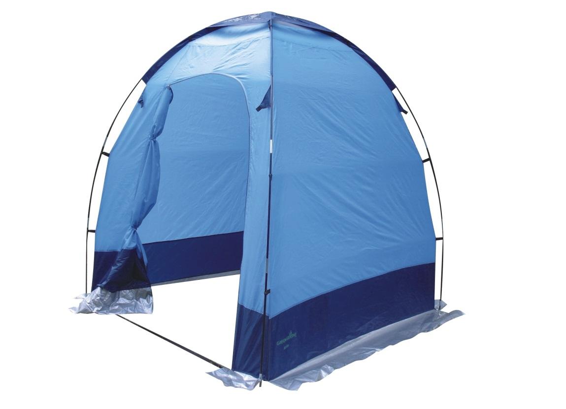 Палатка GreengladeПалатки<br>Тип палатки: трекинговый,<br>Назначение палатки: туалет/душ,<br>Количество комнат: 1,<br>Количество входов: 1,<br>Форма палатки: шатер,<br>Сезон: лето,<br>Размеры: 1650х1650х2000,<br>Длина (мм): 1650,<br>Ширина: 1650,<br>Высота: 2000,<br>Количество слоев тента: 1,<br>Родина бренда: Китай,<br>Цвет: темно-синий / голубой,<br>Вес нетто: 16.8<br>