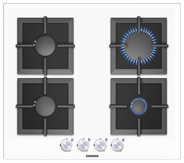 Встраиваемая газовая варочная панель SiemensВарочные панели<br>Способ подключения: газовая,<br>Установка: частично встраиваемая,<br>Панель конфорок: закаленное стекло,<br>Ширина: 590,<br>Глубина: 520,<br>Количество конфорок: 4,<br>Переключатели: поворотные,<br>Цвет: белый<br>