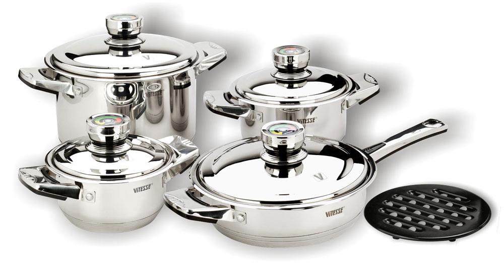 Набор посуды VitesseНаборы посуды<br>Тип: набор посуды,<br>Материал: нержавеющая сталь,<br>Предметов в наборе: 9<br>