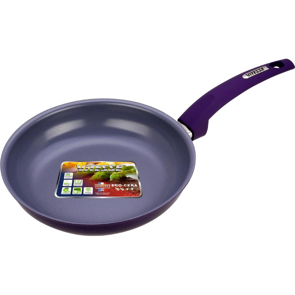 Сковорода VitesseСковороды<br>Тип: сковорода,<br>Материал: алюминий,<br>Диаметр: 260,<br>Толщина стенок: 3,<br>Покрытие чаши: керамическое<br>