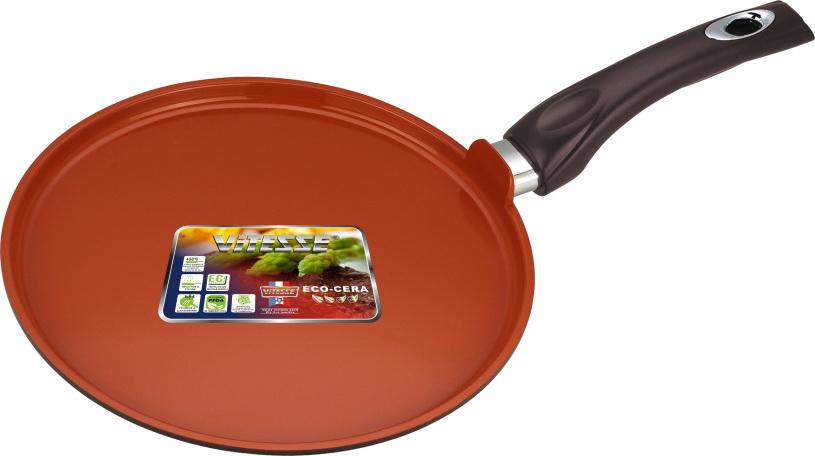 Сковорода VitesseСковороды<br>Тип: сковорода,<br>Материал: алюминий,<br>Диаметр: 280,<br>Толщина стенок: 2.5,<br>Покрытие чаши: керамическое<br>