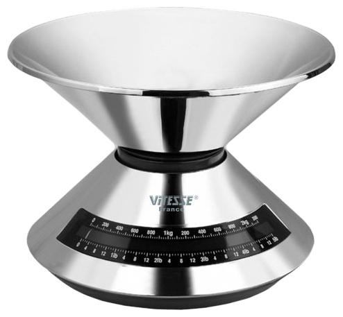 Весы кухонные VitesseВесы кухонные<br>Максимальная нагрузка: 2.5, Тип: механические, Конструкция весов: чаша, Источники питания: CR2032, Материал корпуса: сталь, Материал платформы: сталь, Вес нетто: 0.8<br>