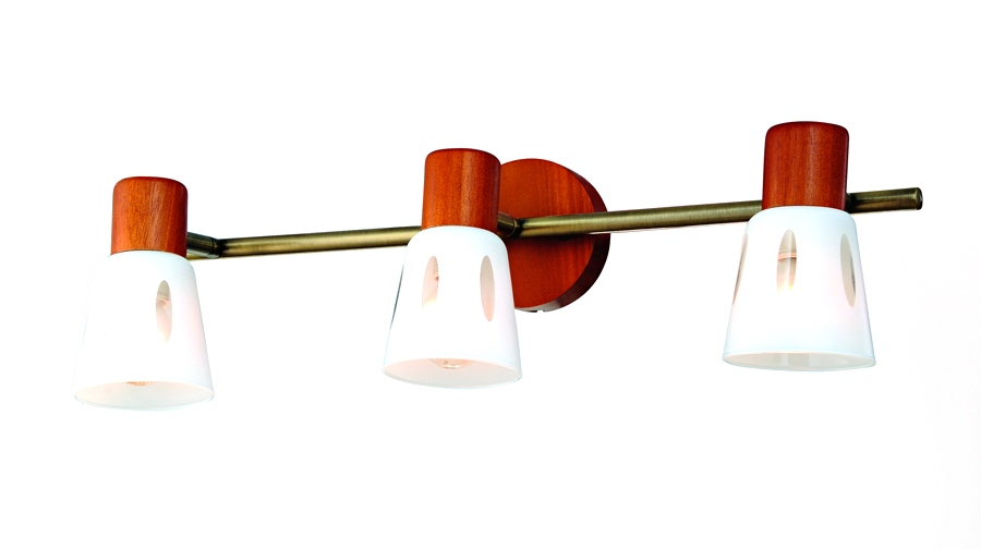 Бра RivoliНастенные светильники и бра<br>Тип: бра,<br>Назначение светильника: для комнаты,<br>Стиль светильника: модерн,<br>Материал светильника: металл, стекло, дерево,<br>Тип лампы: накаливания,<br>Количество ламп: 3,<br>Мощность: 40,<br>Патрон: Е14,<br>Цвет арматуры: бронза,<br>Длина (мм): 190,<br>Ширина: 480,<br>Высота: 90<br>