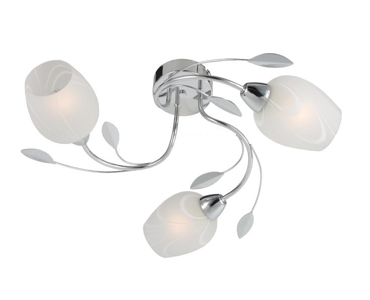 Люстра RivoliЛюстры<br>Назначение светильника: для комнаты,<br>Стиль светильника: модерн,<br>Тип: потолочная,<br>Материал светильника: металл, стекло,<br>Материал плафона: стекло,<br>Материал арматуры: металл,<br>Длина (мм): 210,<br>Ширина: 500,<br>Высота: 500,<br>Количество ламп: 3,<br>Тип лампы: накаливания,<br>Мощность: 60,<br>Патрон: Е14,<br>Цвет арматуры: хром<br>