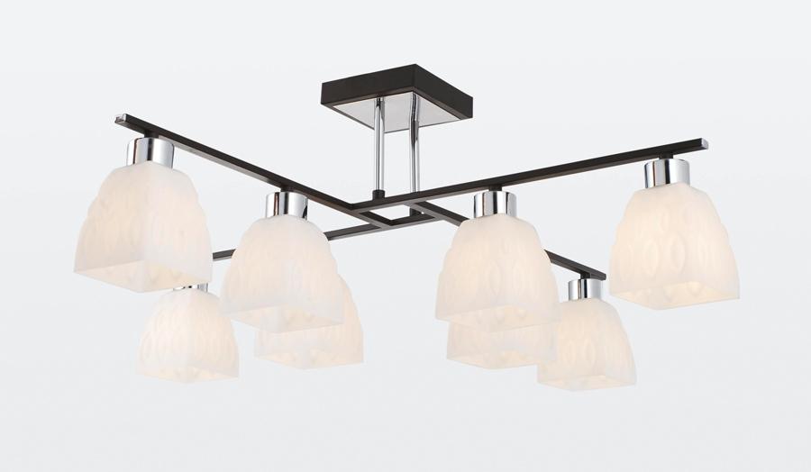 Люстра RivoliЛюстры<br>Назначение светильника: для гостиной,<br>Стиль светильника: модерн,<br>Тип: потолочная,<br>Материал светильника: металл, стекло,<br>Материал плафона: стекло,<br>Материал арматуры: металл,<br>Длина (мм): 755,<br>Ширина: 755,<br>Высота: 275,<br>Количество ламп: 8,<br>Тип лампы: накаливания,<br>Мощность: 40,<br>Патрон: Е14,<br>Цвет арматуры: хром<br>