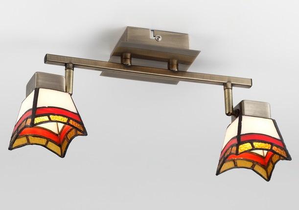 Люстра RivoliЛюстры<br>Назначение светильника: для комнаты, Стиль светильника: тиффани, Тип: потолочная, Материал светильника: металл, стекло, Материал плафона: стекло, Материал арматуры: металл, Длина (мм): 147, Ширина: 334, Высота: 100, Количество ламп: 2, Тип лампы: галогенная, Мощность: 40, Патрон: G9, Цвет арматуры: бронза, Родина бренда: Италия, Коллекция: ruggles<br>