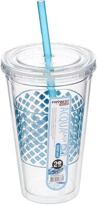 Стакан FrybestКружки, стаканы, чашки<br>Тип: стакан,<br>Объем: 0.5,<br>Цвет: голубой,<br>Материал: пластик<br>