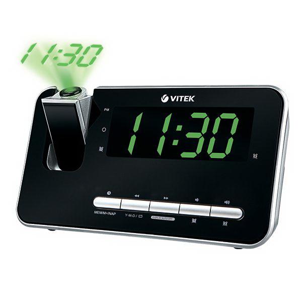 Часы-радио VitekЧасы<br>Тип: часы-радио, Тип часов: электронный, Форма: прямоугольная, Дисплей: LED, Цвет: черный<br>