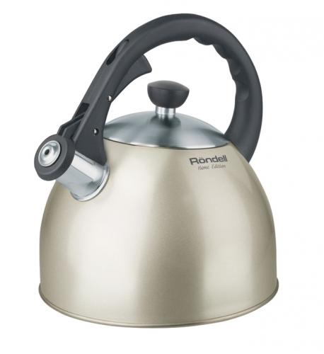 Чайник со свистком RondellЧайники со свистком<br>Тип: чайник со свистком,<br>Объем: 2,<br>Цвет: бежевый,<br>Материал: сталь,<br>Со свистком: есть,<br>Вес нетто: 1<br>