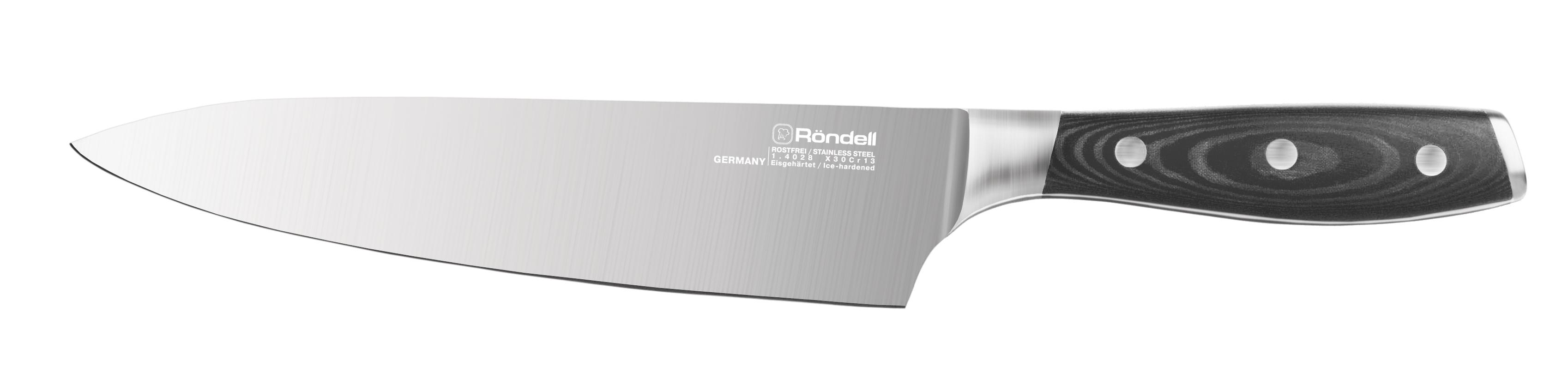 Нож поварской RondellНожи, мусаты, ножеточки<br>Тип: нож,<br>Назначение: поварской,<br>Материал: молибден-ванадиевая сталь,<br>Длина (мм): 200<br>