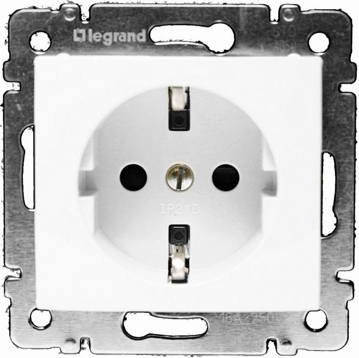Механизм розетки LegrandЭлектроустановочные изделия<br>Тип изделия: механизм розетки,<br>Способ монтажа: скрытой установки,<br>Цвет: белый,<br>Сила тока: 16,<br>Степень защиты от пыли и влаги: IP 21,<br>Количество гнезд: 1,<br>Выходная мощность максимально: 3500,<br>Коллекция: valena<br>