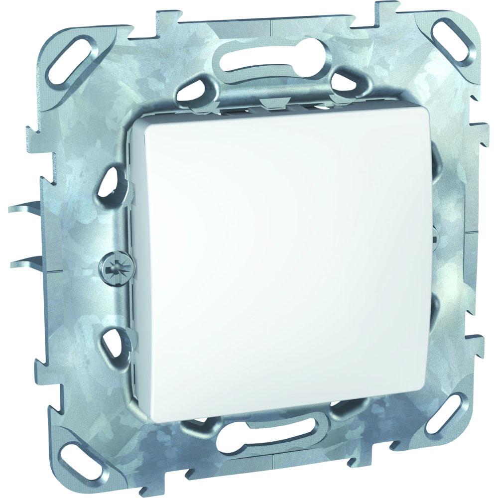 Механизм выключателя Schneider electricЭлектроустановочные изделия<br>Тип изделия: механизм выключателя,<br>Способ монтажа: скрытой установки,<br>Цвет: белый,<br>Сила тока: 10,<br>Степень защиты от пыли и влаги: IP 20,<br>Количество клавиш: 1,<br>Выходная мощность максимально: 2200,<br>Коллекция: unica<br>