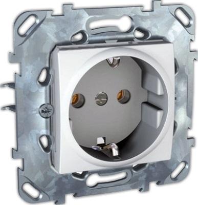 Механизм розетки Schneider electricЭлектроустановочные изделия<br>Тип изделия: механизм розетки,<br>Способ монтажа: скрытой установки,<br>Цвет: белый,<br>Заземление: есть,<br>Сила тока: 16,<br>Степень защиты от пыли и влаги: IP 20,<br>Количество гнезд: 1,<br>Выходная мощность максимально: 3500,<br>Коллекция: unica<br>