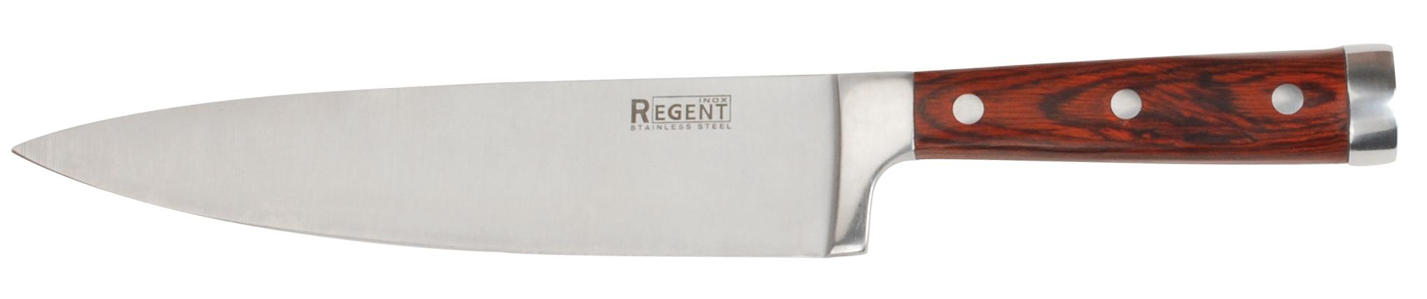 Нож разделочный Regent inoxНожи, мусаты, ножеточки<br>Тип: нож,<br>Назначение: разделочный,<br>Материал: нержавеющая сталь,<br>Длина (мм): 200<br>