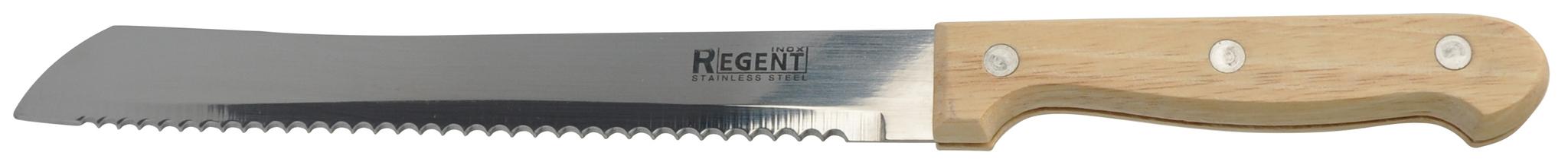 Нож для хлеба Regent inoxНожи, мусаты, ножеточки<br>Тип: нож,<br>Назначение: для хлеба,<br>Материал: нержавеющая сталь,<br>Длина (мм): 205<br>