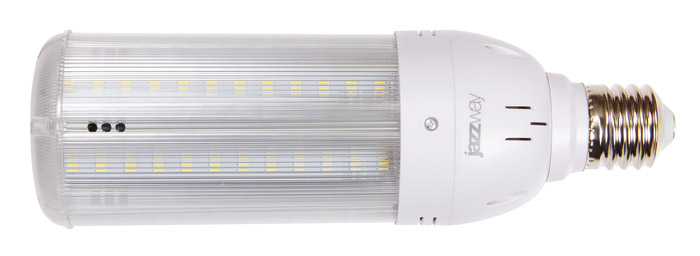 Лампа светодиодная JazzwayЛампы<br>Тип лампы: светодиодная,<br>Форма лампы: цилиндрическая,<br>Цвет колбы: прозрачная,<br>Тип цоколя: Е40,<br>Напряжение: 220,<br>Мощность: 40,<br>Цветовая температура: 6500,<br>Цвет свечения: холодный<br>