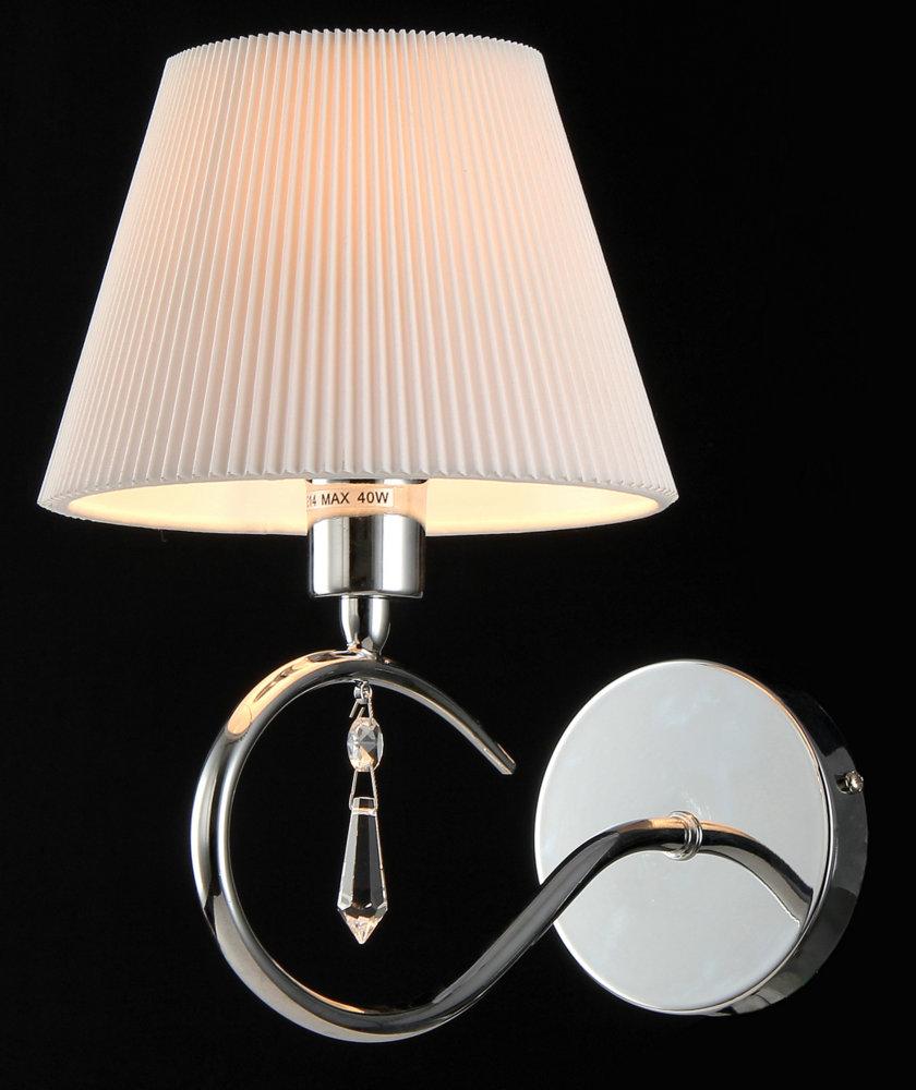 Бра MaytoniНастенные светильники и бра<br>Тип: бра,<br>Назначение светильника: для спальни,<br>Стиль светильника: классика,<br>Материал светильника: металл, ткань,<br>Тип лампы: накаливания,<br>Количество ламп: 1,<br>Мощность: 40,<br>Патрон: Е14,<br>Цвет арматуры: никель,<br>Высота: 250,<br>Диаметр: 150<br>
