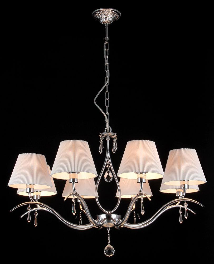 Люстра MaytoniЛюстры<br>Назначение светильника: для гостиной,<br>Стиль светильника: классика,<br>Тип: подвесная,<br>Материал светильника: металл, стекло,<br>Материал плафона: ткань,<br>Материал арматуры: металл,<br>Диаметр: 700,<br>Высота: 510,<br>Количество ламп: 8,<br>Тип лампы: накаливания,<br>Мощность: 40,<br>Патрон: Е14,<br>Цвет арматуры: никель<br>