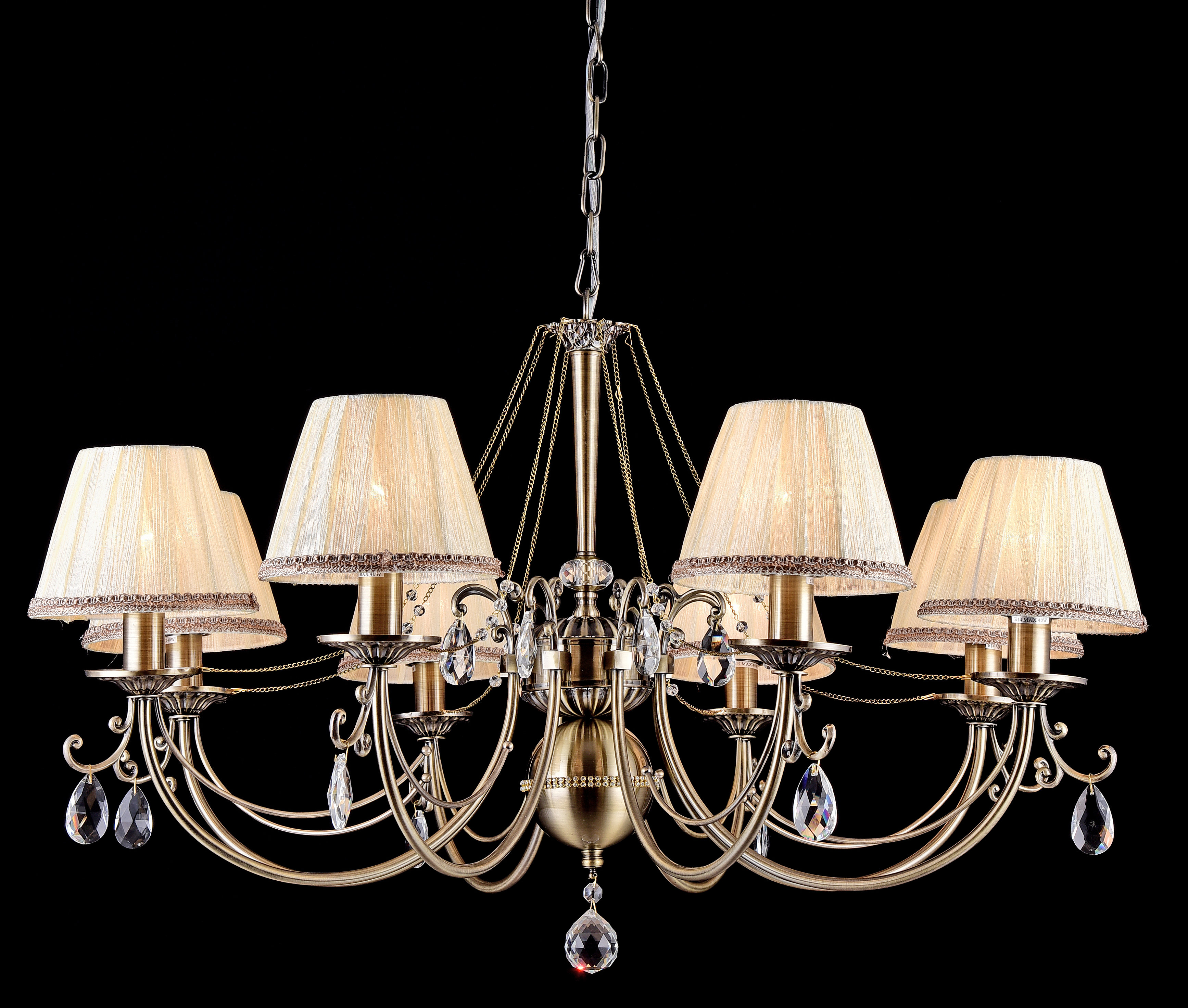 Люстра MaytoniЛюстры<br>Назначение светильника: для гостиной, Стиль светильника: классика, Тип: подвесная, Материал светильника: металл, стекло, Материал плафона: ткань, Материал арматуры: металл, Диаметр: 850, Высота: 520, Количество ламп: 8, Тип лампы: накаливания, Мощность: 40, Патрон: Е14, Цвет арматуры: бронза, Родина бренда: Германия, Коллекция: arm093<br>