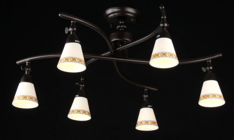 Спот MaytoniСпоты<br>Тип: спот,<br>Стиль светильника: современный,<br>Материал светильника: металл, стекло,<br>Количество ламп: 6,<br>Тип лампы: галогенная,<br>Мощность: 60,<br>Патрон: G9,<br>Цвет арматуры: дерево,<br>Диаметр: 690,<br>Высота: 290<br>
