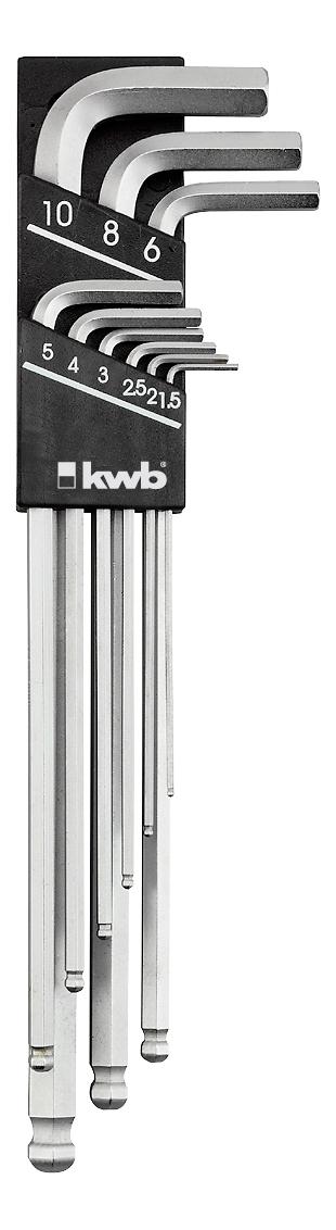 Набор шестигранных ключей KwbКлючи имбусовые<br>Типоразмер: HEXAGON,<br>Ключей в наборе: 9,<br>Набор: есть<br>