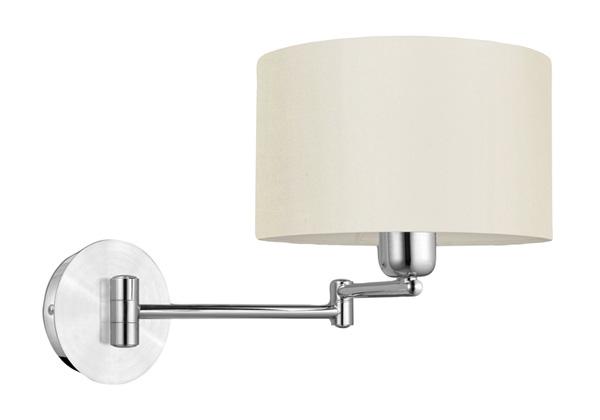 Бра EgloНастенные светильники и бра<br>Тип: бра,<br>Назначение светильника: для гостиной,<br>Стиль светильника: современный,<br>Материал светильника: металл, ткань,<br>Тип лампы: накаливания,<br>Количество ламп: 1,<br>Мощность: 60,<br>Патрон: Е27,<br>Цвет арматуры: хром,<br>Высота: 260<br>